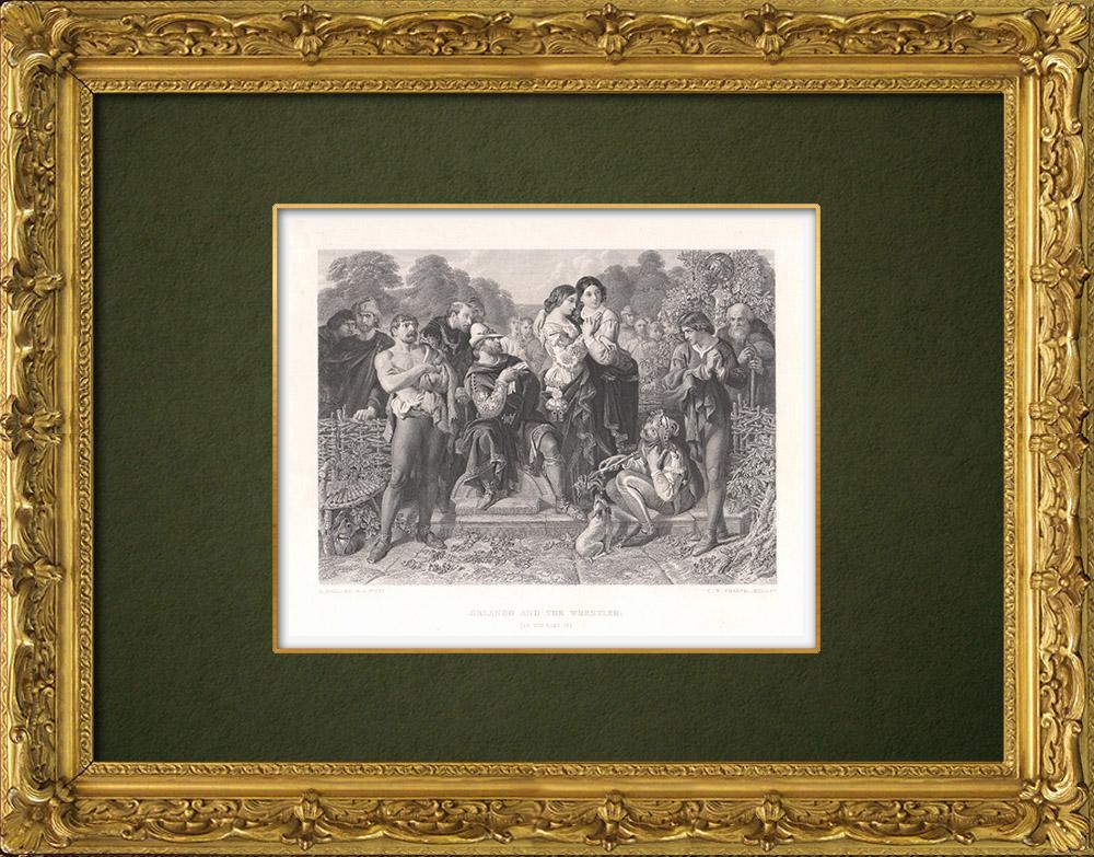 Gravures Anciennes & Dessins | Orlando et le Lutteur - Comme il vous plaira (William Shakespeare) | Taille-douce | 1875