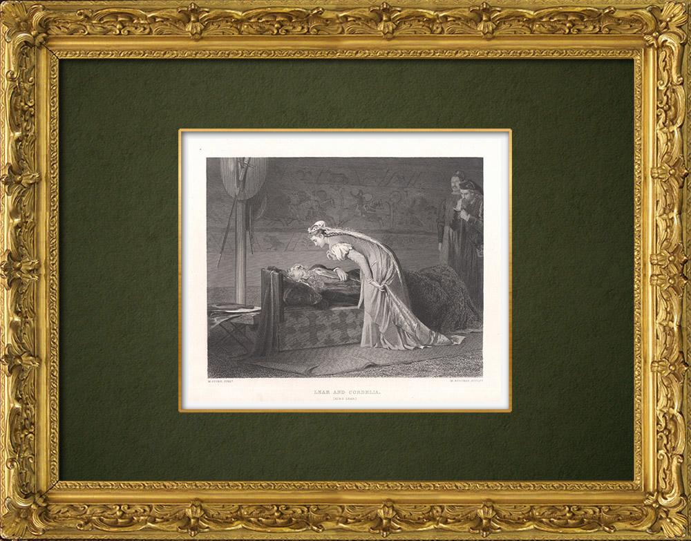 Gravures Anciennes & Dessins   Lear et Cordelia - Le Roi Lear (William Shakespeare)   Taille-douce   1875