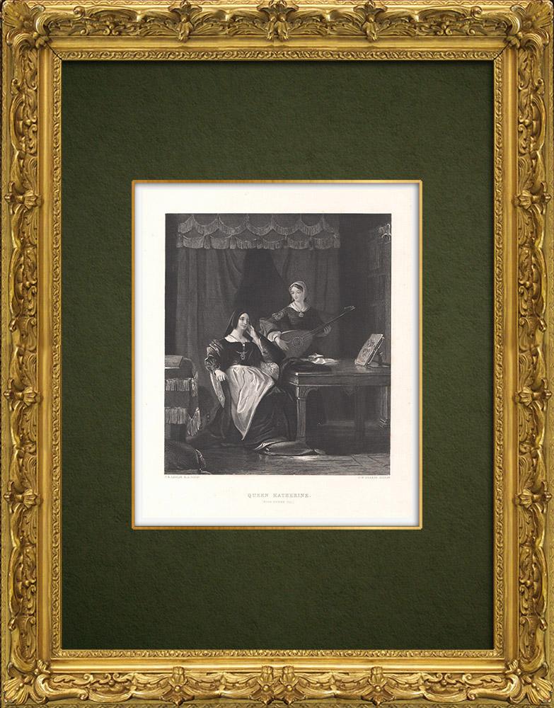 Grabados & Dibujos Antiguos | Catalina de Aragón - Enrique VIII de Inglaterra (William Shakespeare) | Grabado en talla dulce | 1875