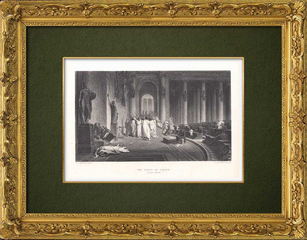 Gravures Anciennes & Dessins   Mort de César - Jules César (William Shakespeare)   Taille-douce   1875