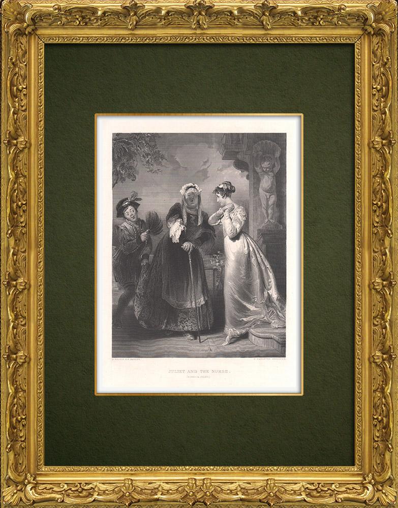 Grabados & Dibujos Antiguos | Julieta y la Nodriza - Romeo y Julieta (William Shakespeare) | Grabado en talla dulce | 1875