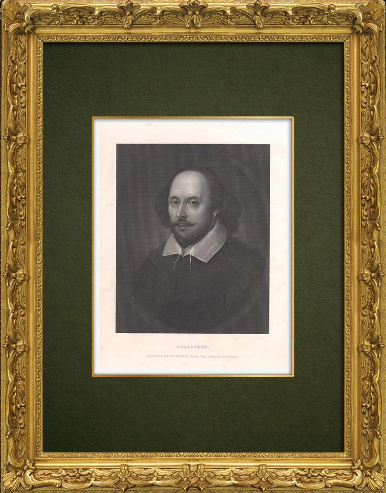 Antique Prints & Drawings | Portrait of William Shakespeare (1564-1616) | Intaglio print | 1875