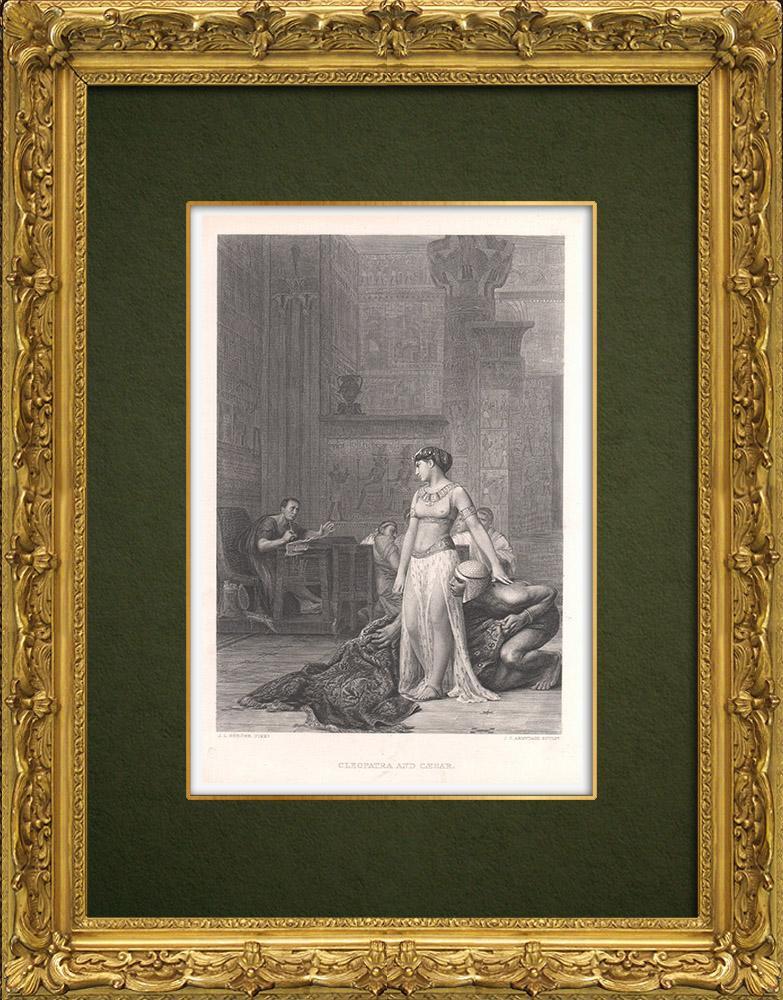 Gravures Anciennes & Dessins | Cléopatre et Octavius Cesar - Antoine et Cléopâtre (William Shakespeare) | Taille-douce | 1875