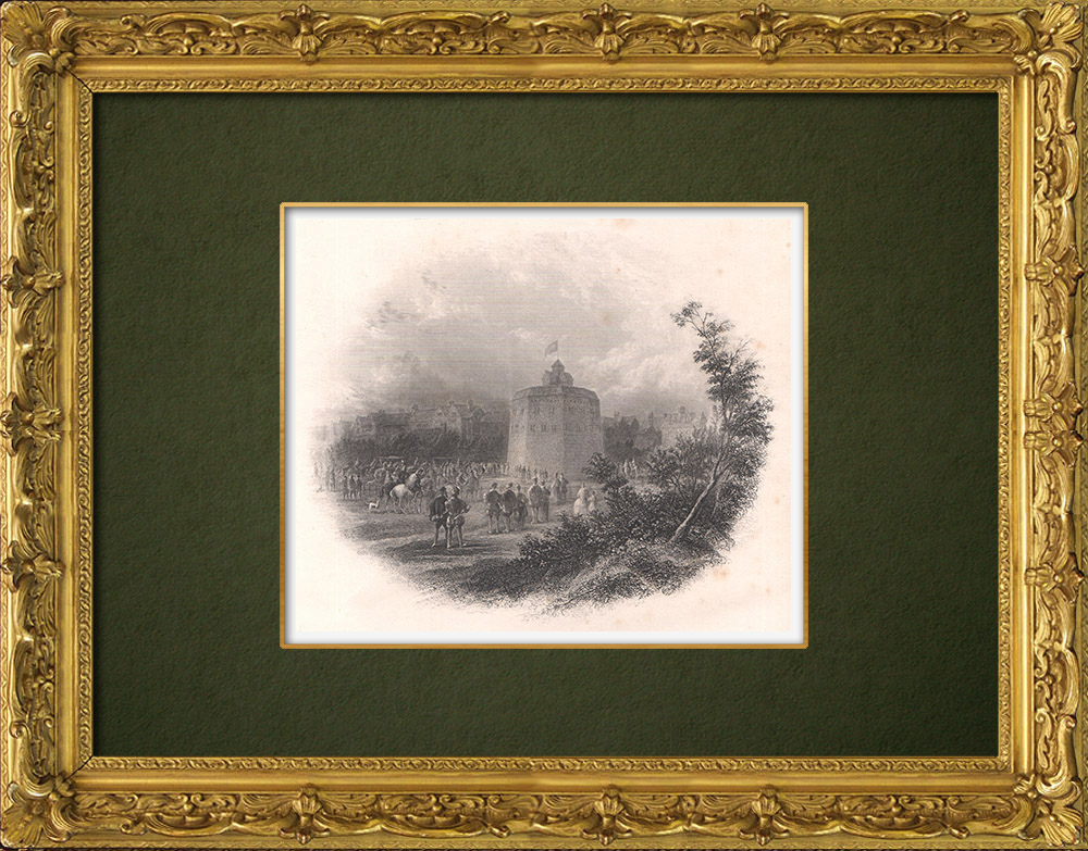 Gravures Anciennes & Dessins | Le Théâtre du Globe - Bankside - 1593 - William Shakespeare - Londres (Angleterre) | Taille-douce | 1875