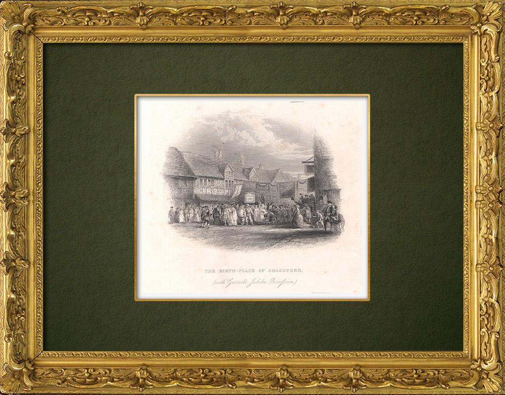Grabados & Dibujos Antiguos | Lugar de nacimiento de William Shakespeare (Inglaterra) | Grabado en talla dulce | 1875