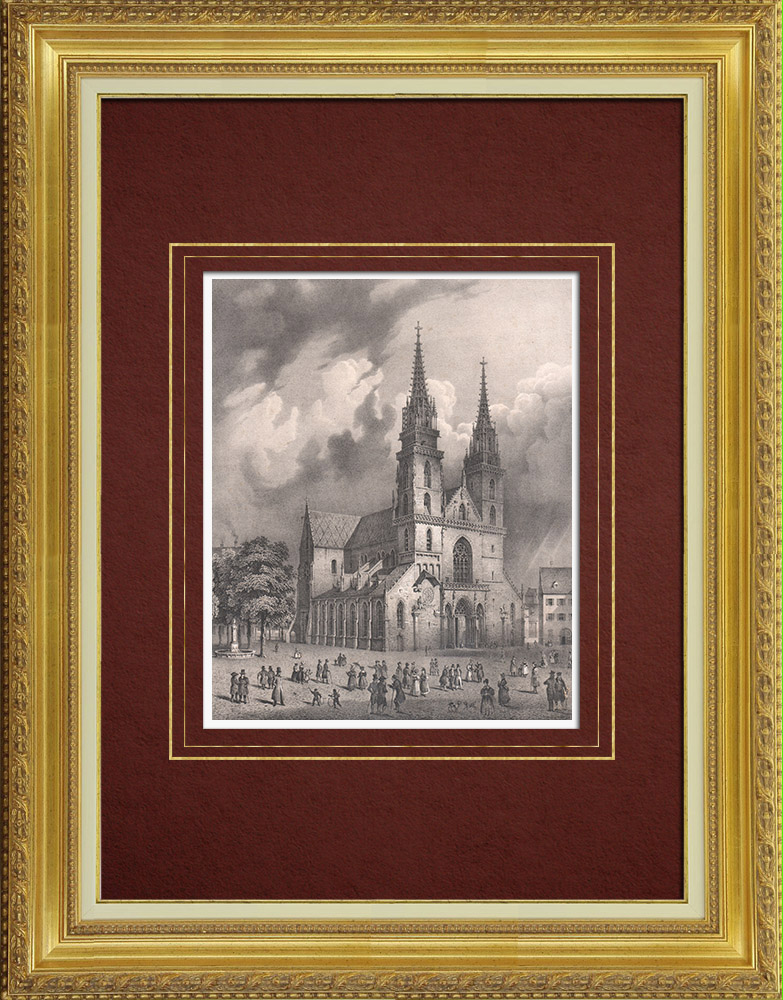 Antique Prints & Drawings   Basel Minster (Switzerland)   Lithography   1835