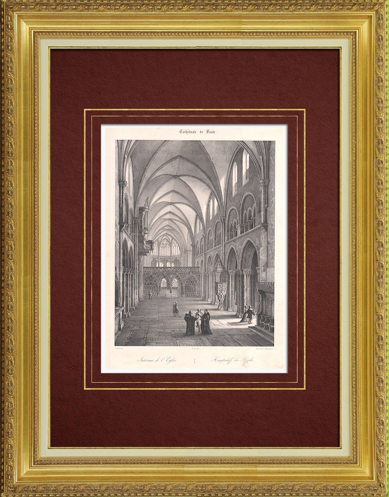 Antique Prints & Drawings | Interior of Basel Cathedral (Switzerland) | Lithography | 1835