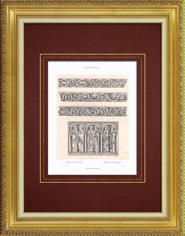 Grabados & Dibujos Antiguos | Cripta de la Catedral de Basilea - Esculturas (Suiza) | Litografía | 1835