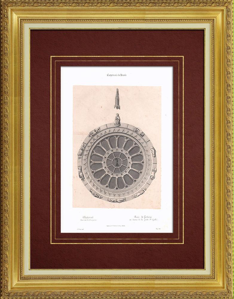 Gravures Anciennes & Dessins   Roue de la Fortune - Rosace - Porte Saint-Gall - Cathédrale de Bâle (Suisse)    Lithographie   1835
