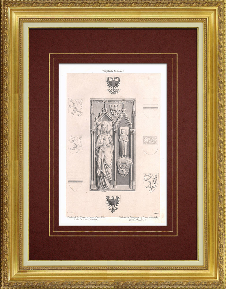 Antique Prints & Drawings | Tomb of Anna of Hohenberg in the Basel Cathedral (Switzerland) | Lithography | 1835