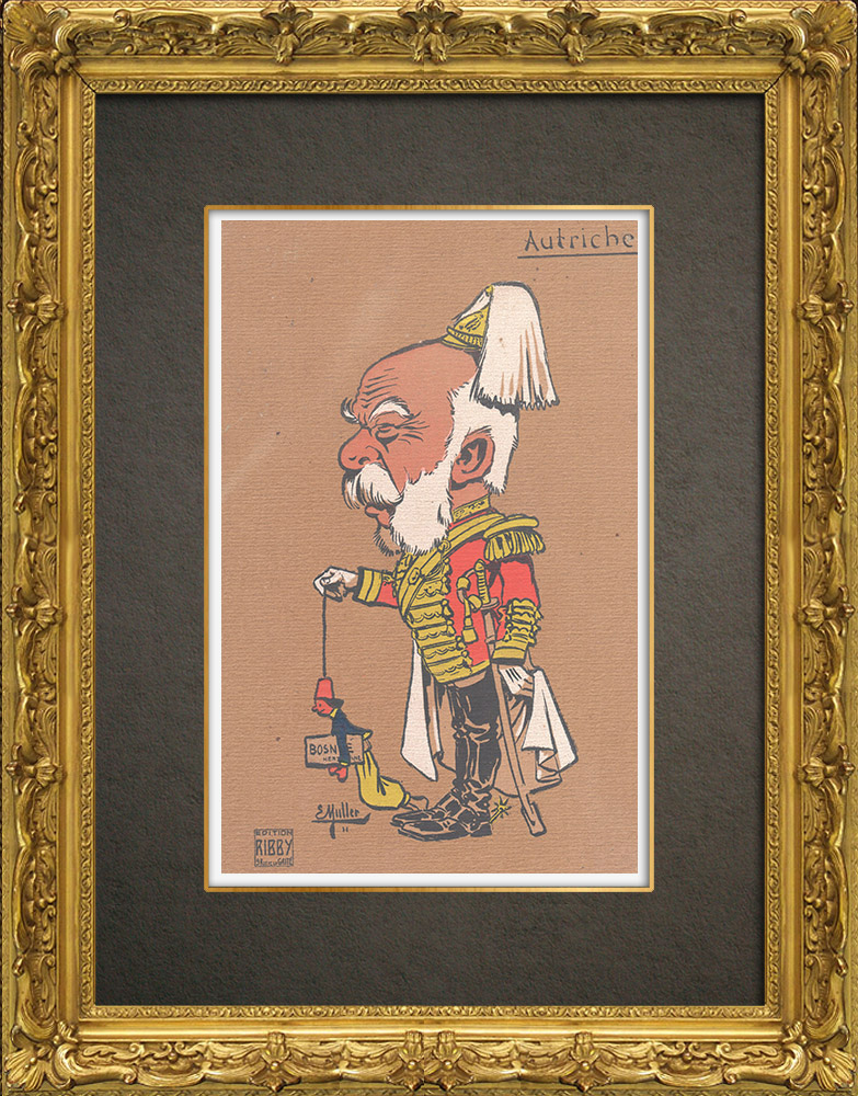 Antique Prints & Drawings | Caricature of Francis-Joseph I of Austria (1830-1916) | Wood engraving | 1909