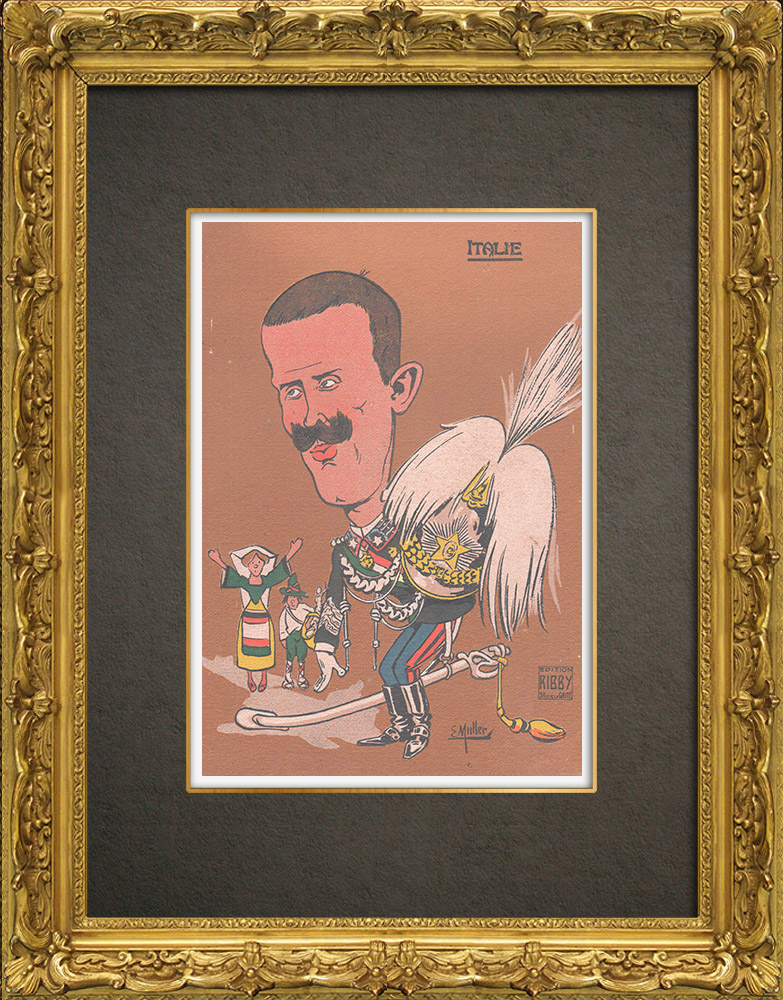 Antique Prints & Drawings | Caricature of Victor Emmanuel III of Italy (1869-1947) | Wood engraving | 1909
