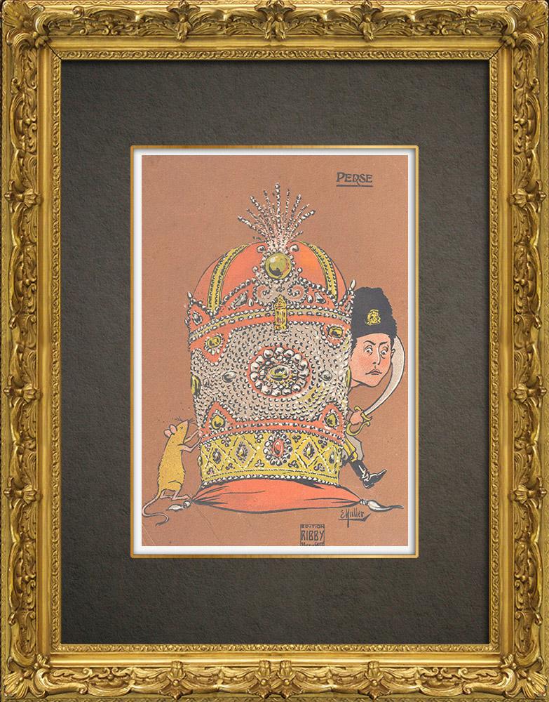 Antique Prints & Drawings   Caricature of Mohammad Ali Shah Qajar (1872-1925)   Wood engraving   1909