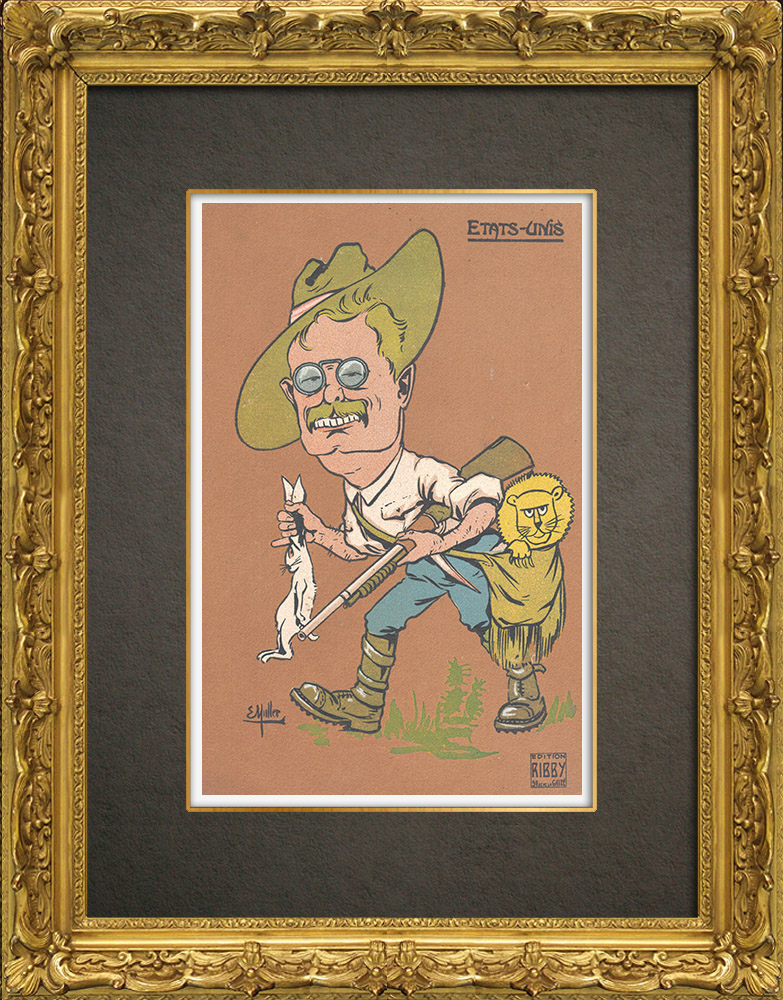 Antique Prints & Drawings | Caricature of Theodore Roosevelt (1858-1919) | Wood engraving | 1909