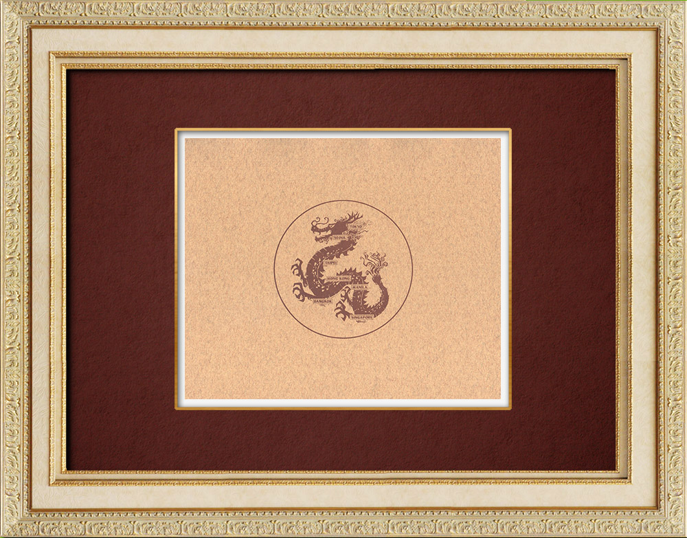 Antique Prints & Drawings | Chinese dragon - Long - Mythologie chinoise | Wood engraving | 1909