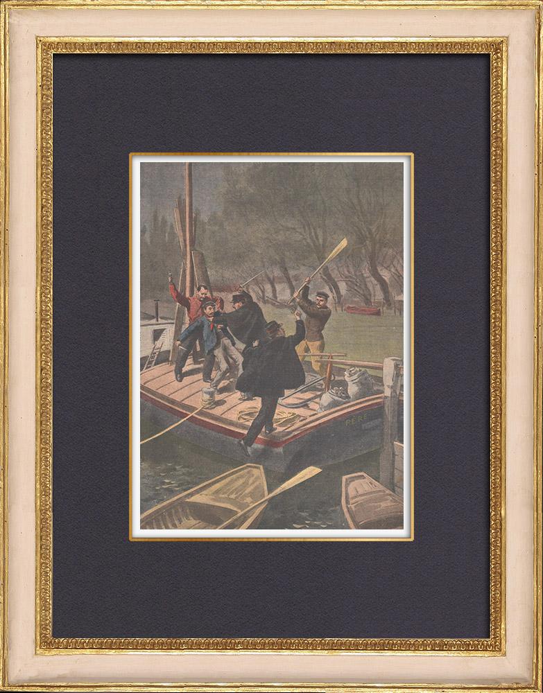 Antique Prints & Drawings   Battle on a barge in Courbevoie - Île-de-France - 1902   Wood engraving   1902