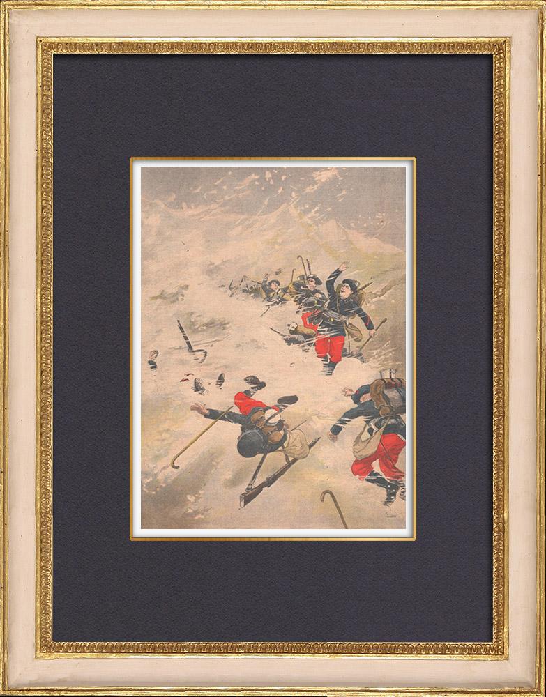 Gravures Anciennes & Dessins | Accident dans les Alpes - Chasseurs alpins au col d'Arrondaz - 1902 | Gravure sur bois | 1902