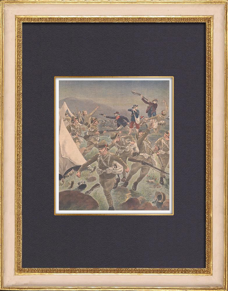 Gravures Anciennes & Dessins | Guerre du Transvaal - Héroisme du général Christiaan de Wet - Afrique  du Sud - 1902 | Gravure sur bois | 1902