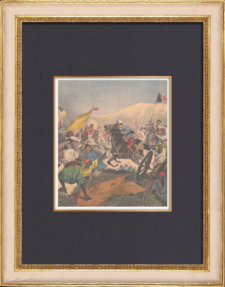 Gravures Anciennes & Dessins | Victoire française contre l'Empire de Rabah - Capitaine Dangeville - Dikoa - Nigeria - 1902 | Gravure sur bois | 1902