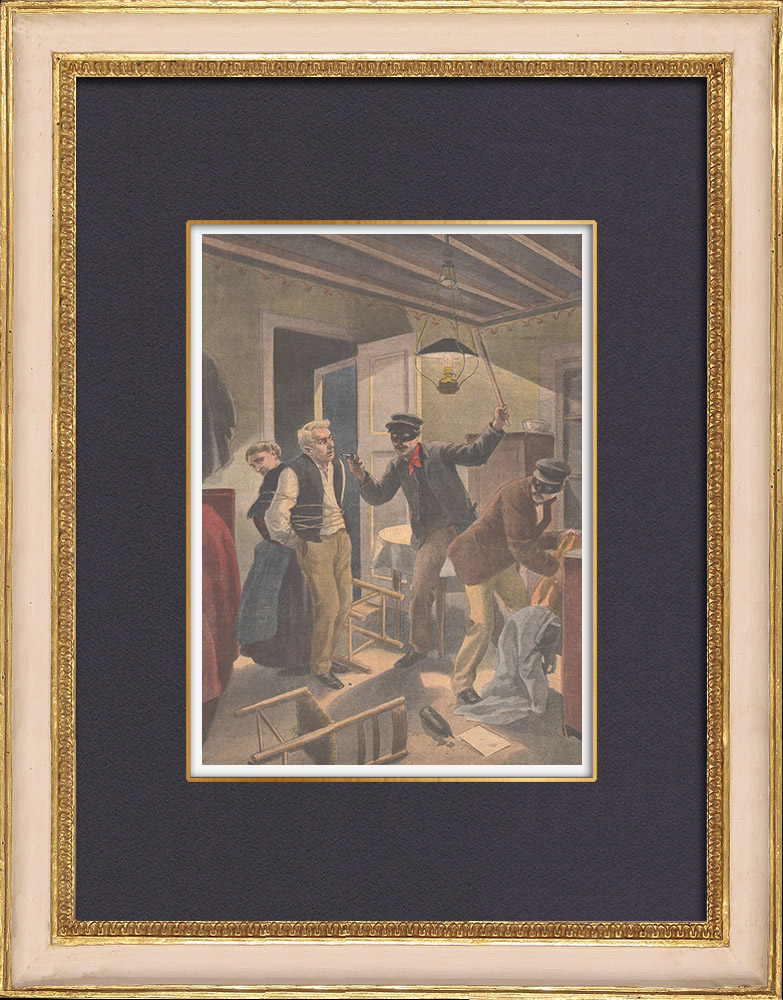 Gravures Anciennes & Dessins | Scène de banditisme près de Auch - Gers - France - 1902 | Gravure sur bois | 1902