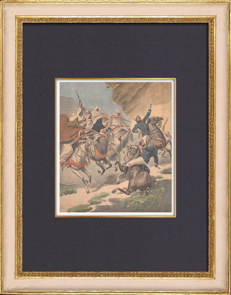 Gravures Anciennes & Dessins | Deux soldats français assassinés par des Marocains - Beni-Nounir - Maroc - 1902 | Gravure sur bois | 1902