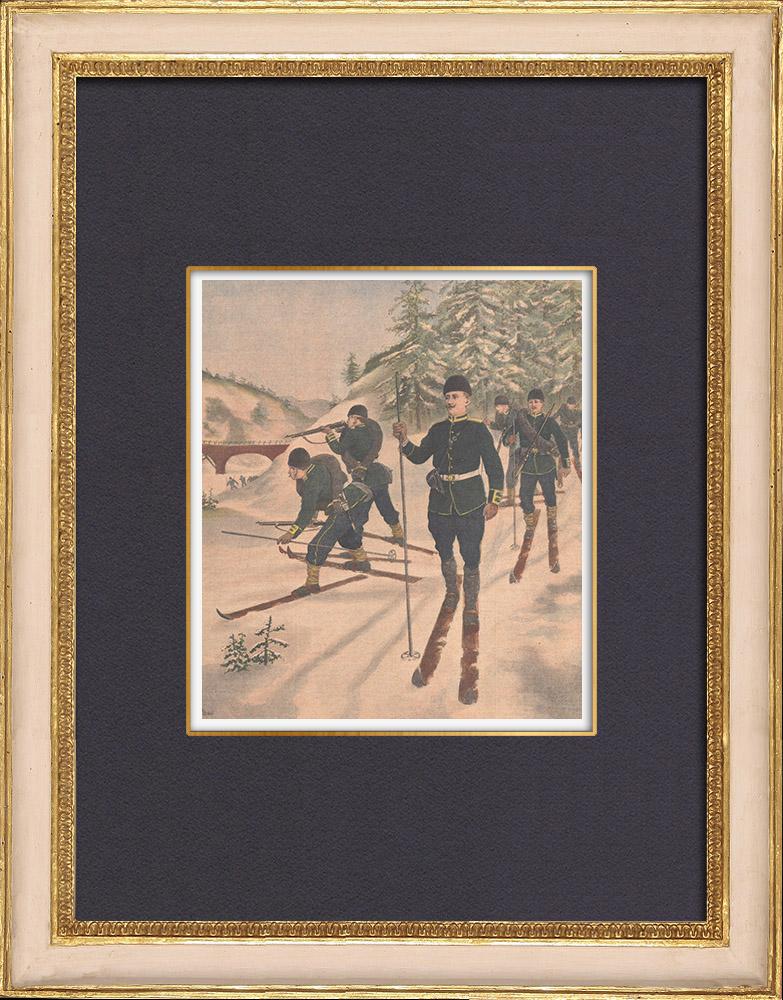 Grabados & Dibujos Antiguos | Cazadores alpinos - Esqui - Briançon - Altos Alpes - Francia - 1902 | Grabado xilográfico | 1902