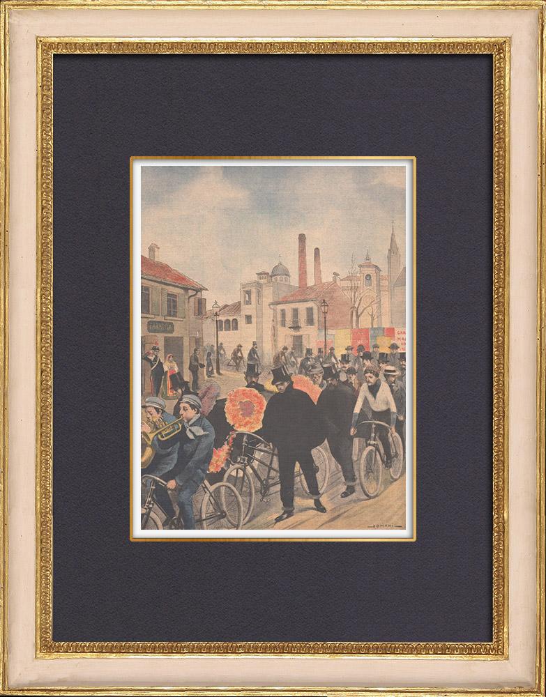 Gravures Anciennes & Dessins | Un enterrement à bicyclette à Imola - Italie - 1902 | Gravure sur bois | 1902