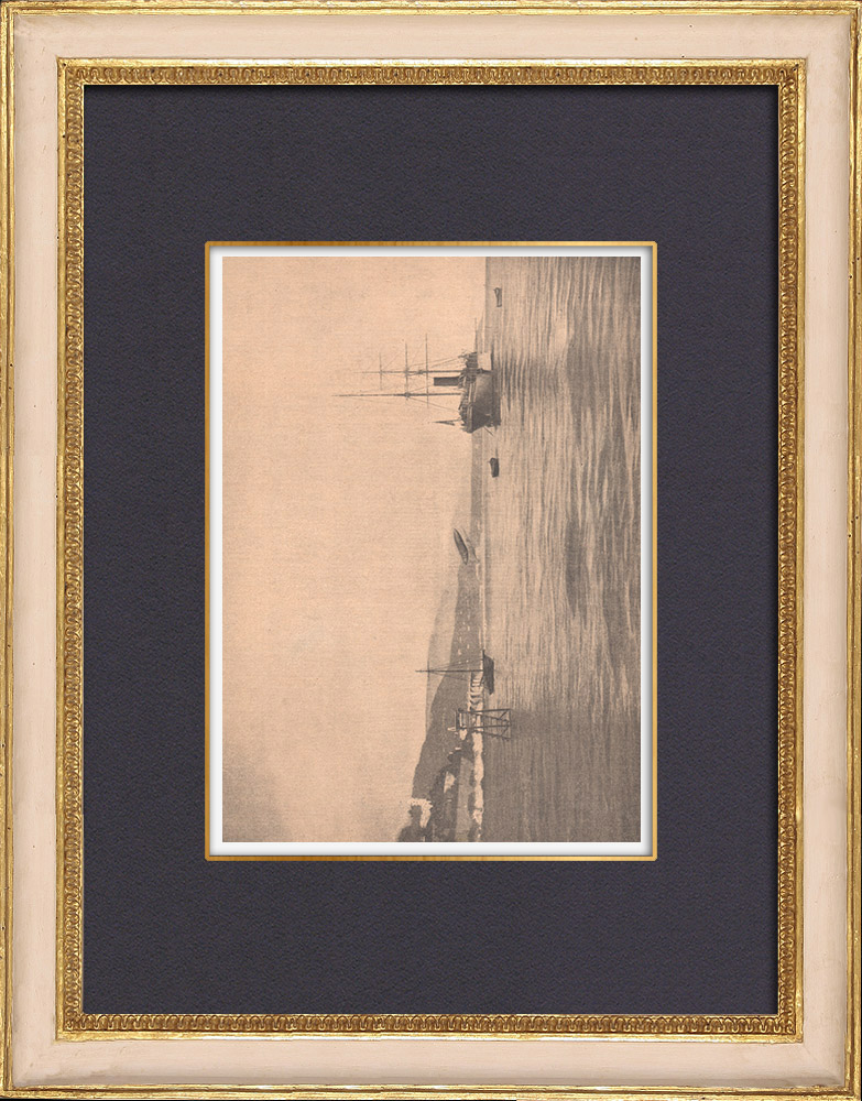 Gravures Anciennes & Dessins | Naufrage de l'aérostat de Santos-Dumont - Méditerranée - 1902 | Gravure sur bois | 1902