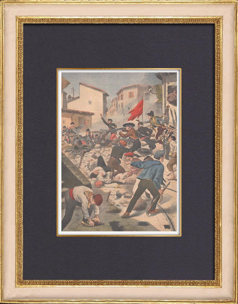Gravures Anciennes & Dessins | Troubles à Barcelone - Catalogne - Espagne - 1902 | Gravure sur bois | 1902