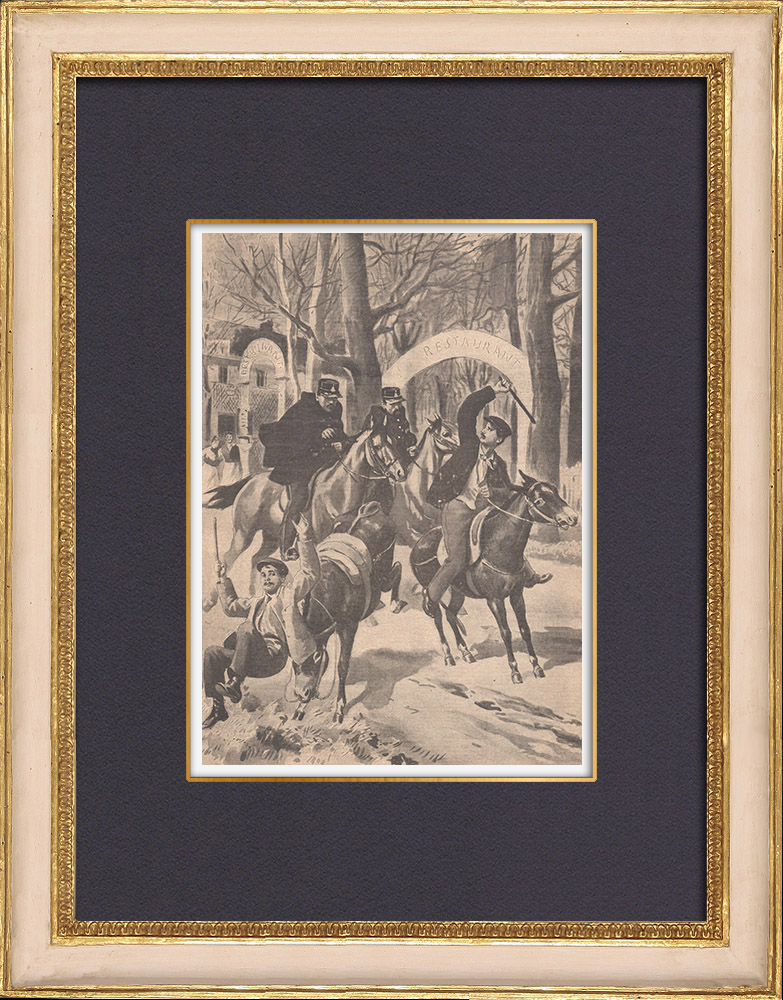 Antique Prints & Drawings | Arrest of three young thieves with their donkeys at Montmorency - 1902 | Wood engraving | 1902