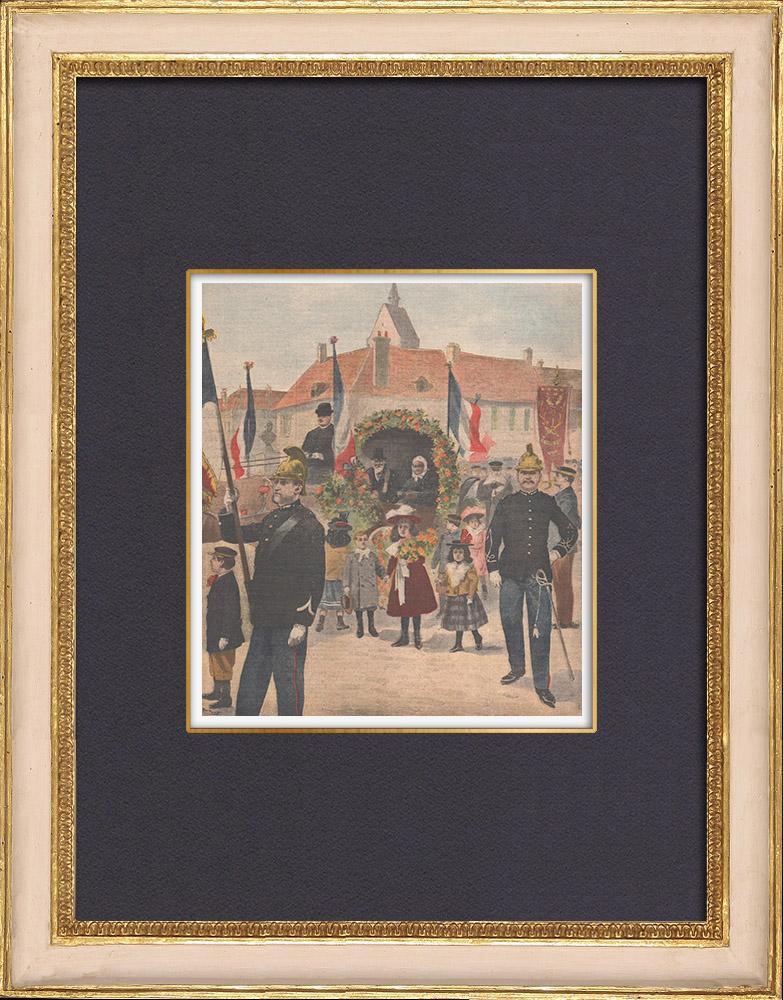 Antique Prints & Drawings | Celebration for the centenarian of Angerville - Île-de-France - 1902 | Wood engraving | 1902