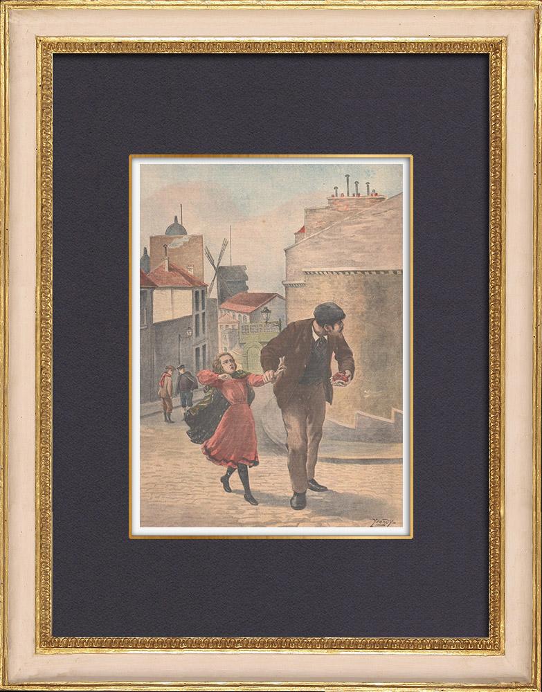Gravures Anciennes & Dessins | Assassinat d'une fillette à Montmartre - Paris - 1902 | Gravure sur bois | 1902