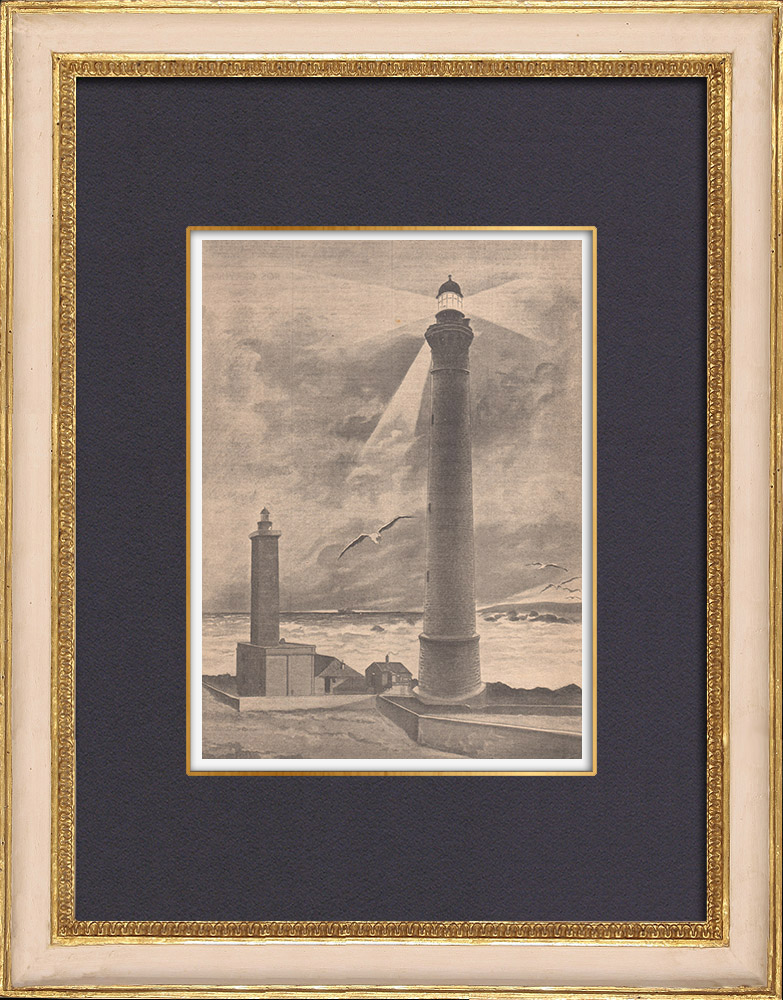 Antique Prints & Drawings | The lighthouse of the Île Vierge - Brittany - Finistère - France - 1902 | Wood engraving | 1902