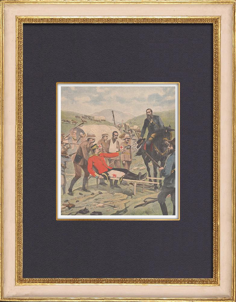 Grabados & Dibujos Antiguos | Batalla de Tweebosch - Lord Methuen capturado y rematado por los Bóers - Sudafrica - 1902 | Grabado xilográfico | 1902
