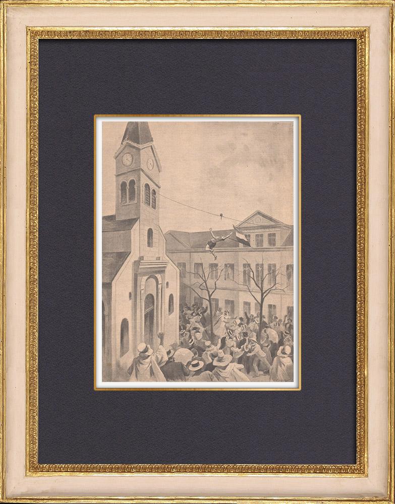 Gravures Anciennes & Dessins | Mort d'un acrobate à Sétif - Algérie - 1902 | Gravure sur bois | 1902