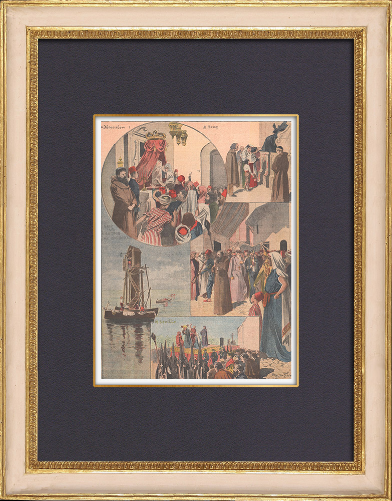 Antique Prints & Drawings   Procession of Holy Week - Jerusalem - Rome - Seville - 1902   Wood engraving   1902