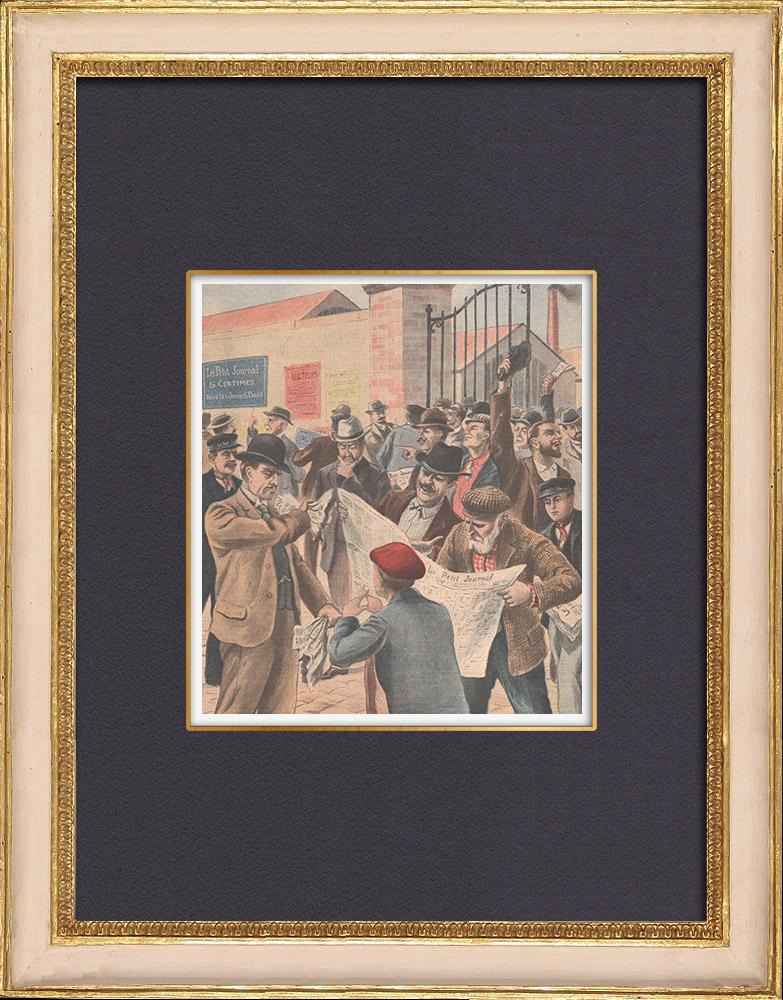 Antique Prints & Drawings   French legislative elections of 1902 - Paris   Wood engraving   1902