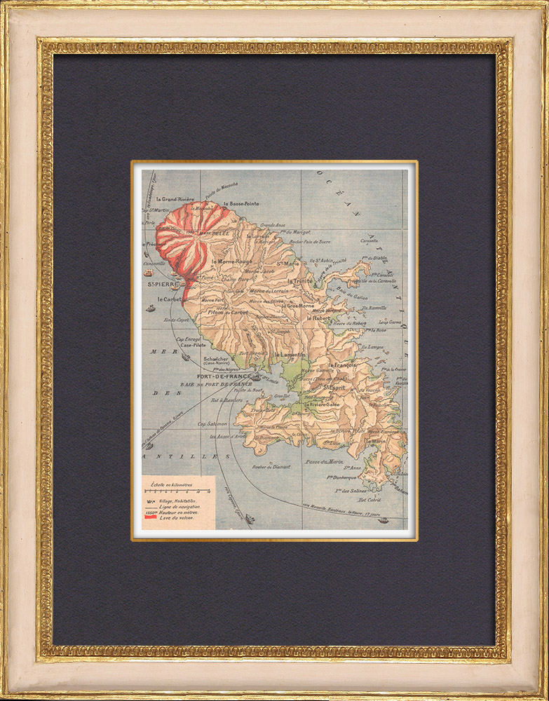Antique Prints & Drawings   Map of Martinique - Eruption of Mount Pelee - St Pierre - 1902   Wood engraving   1902