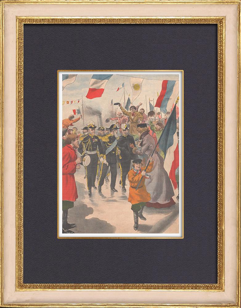 Gravures Anciennes & Dessins | Voyage de Emile Loubet en Russie - Saint-Pétersbourg - 1902 | Gravure sur bois | 1902
