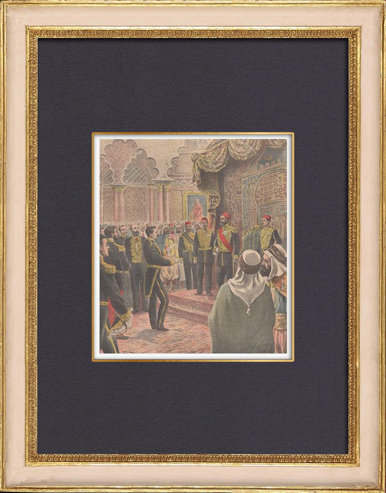 Gravures Anciennes & Dessins | Le nouveau Bey de Tunis Hédi Bey - Cérémonie d'investiture - Palais du Bardo - Tunisie - 1902 | Gravure sur bois | 1902