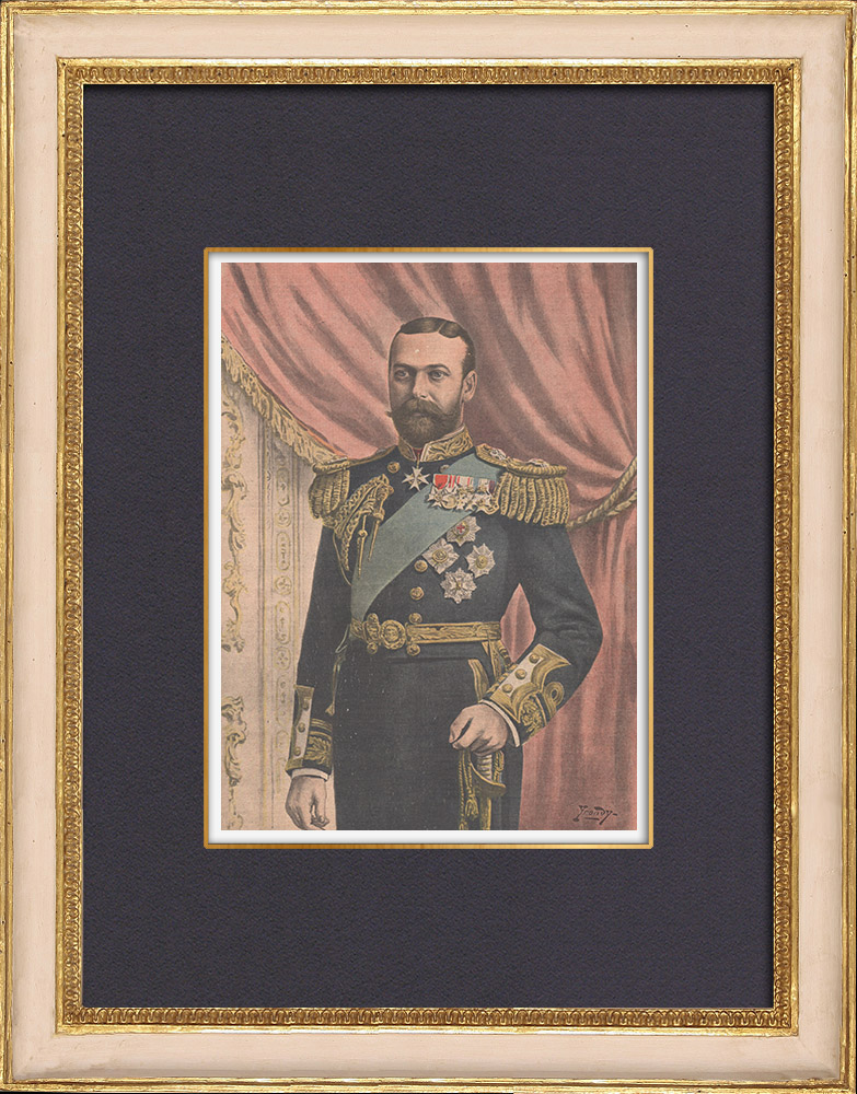 Antique Prints & Drawings   Portrait of George V - Prince of Wales (1865-1936)   Wood engraving   1902