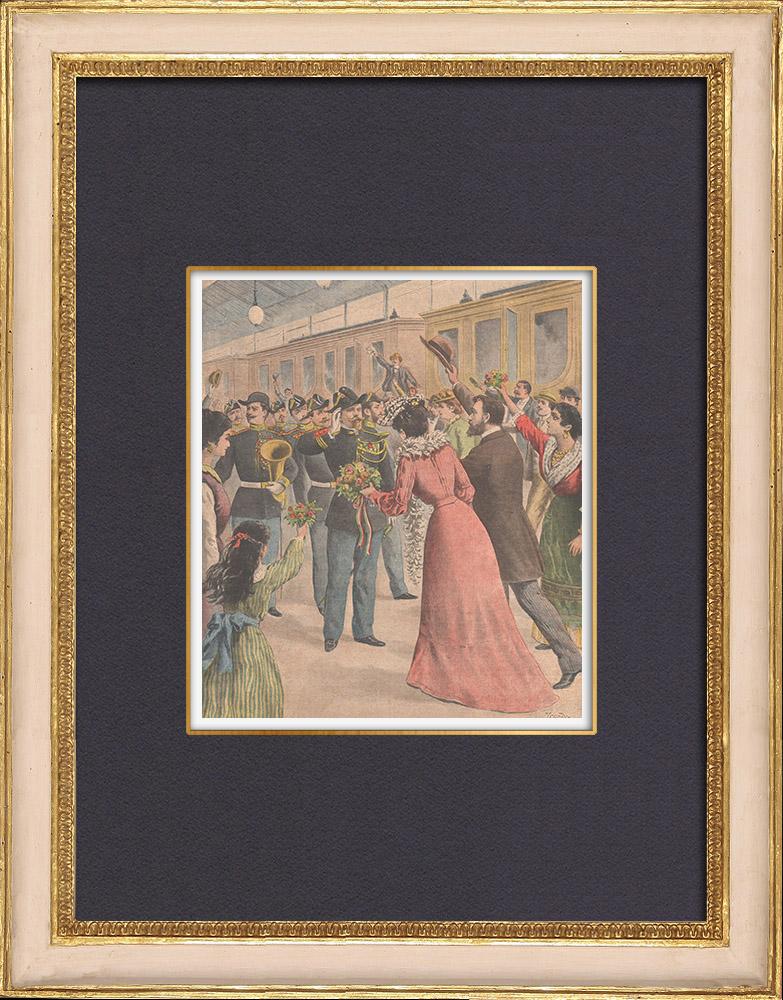 Grabados & Dibujos Antiguos   Música de la Guardia Republicana en Turín - Italia - 1902   Grabado xilográfico   1902