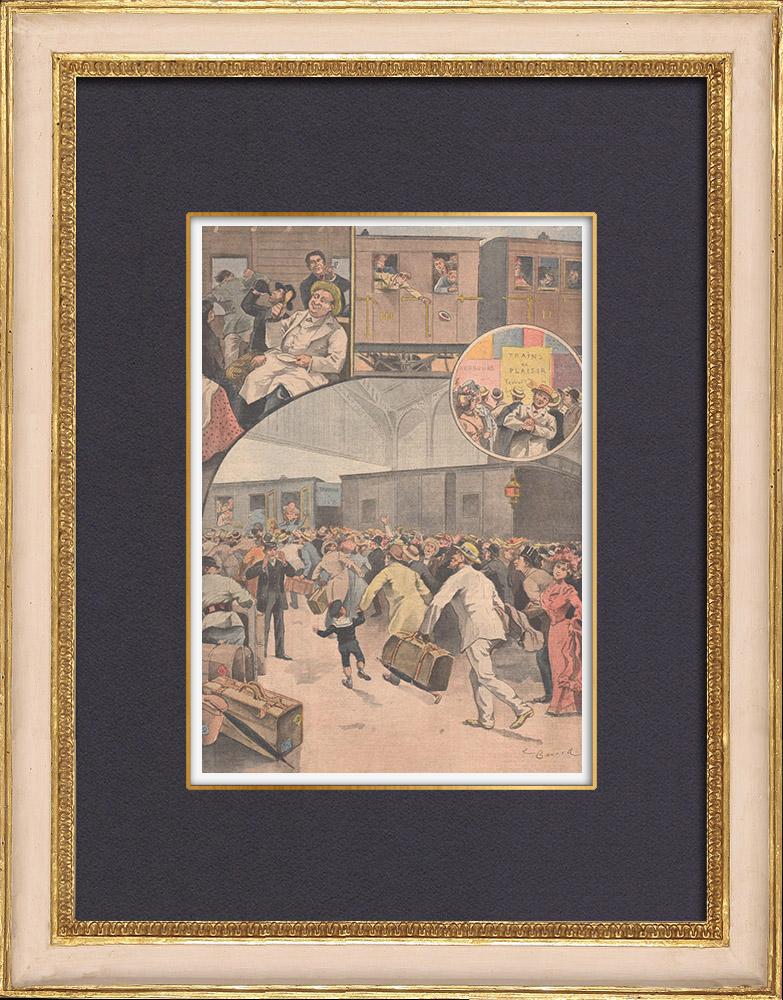 Antique Prints & Drawings | Bastille Day - Train de plaisir - France - 1902 | Wood engraving | 1902
