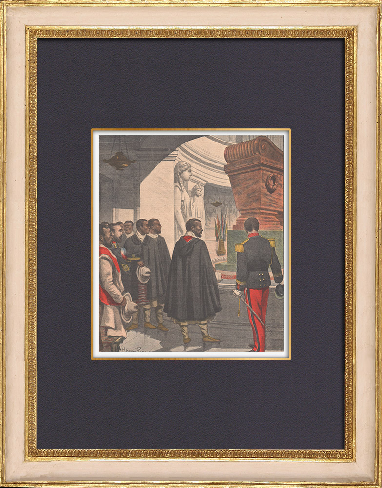 Antique Prints & Drawings | Ras Mekonnen in the Invalides - Paris - France - 1902 | Wood engraving | 1902