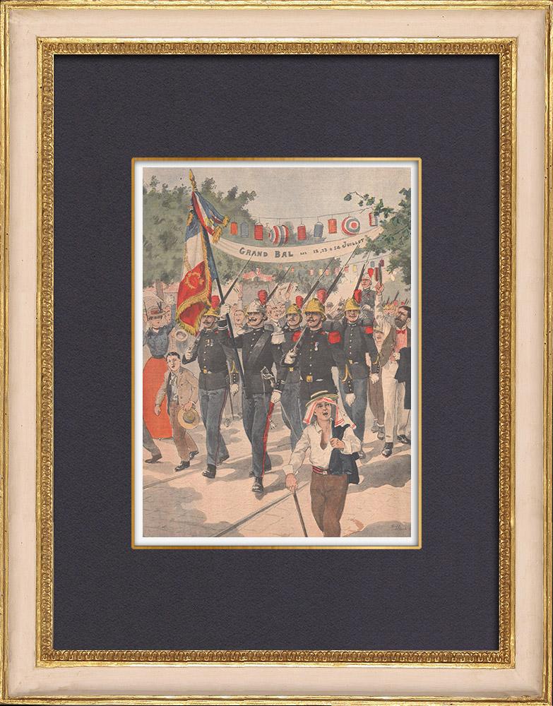 Antique Prints & Drawings | Bastille Day - Tribute to the Pompiers de Paris - 1902 | Wood engraving | 1902
