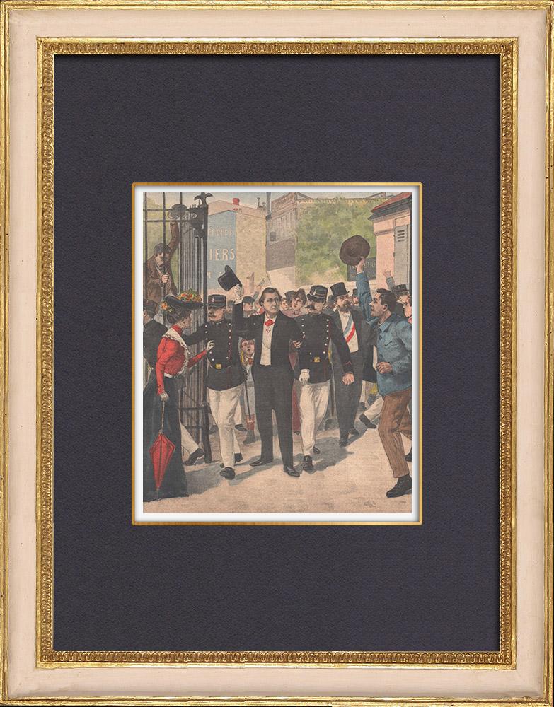 Antique Prints & Drawings | Religious congregations - Arrest of François Coppée - Paris - 1902 | Wood engraving | 1902