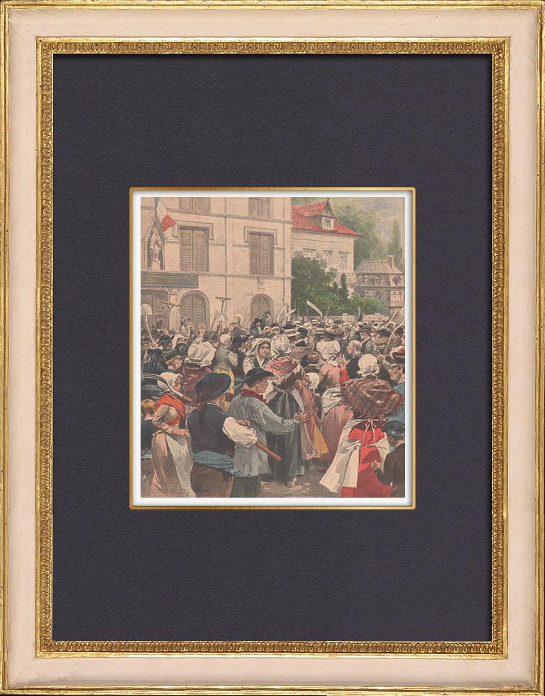 Gravures Anciennes & Dessins | Congrégations religieuses - Résistance en Bretagne - France - 1902 | Gravure sur bois | 1902