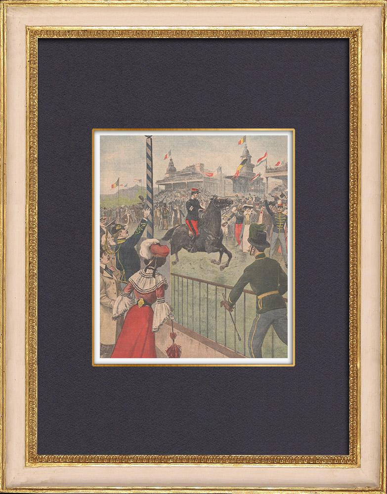 Gravures Anciennes & Dessins | Raid équestre Bruxelles-Ostende - Militaire - Belgique - 1902 | Gravure sur bois | 1902