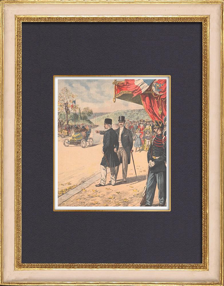 Antique Prints & Drawings   The Shah of Persia attends a car race at the Bois de Boulogne - Paris - 1902   Wood engraving   1902