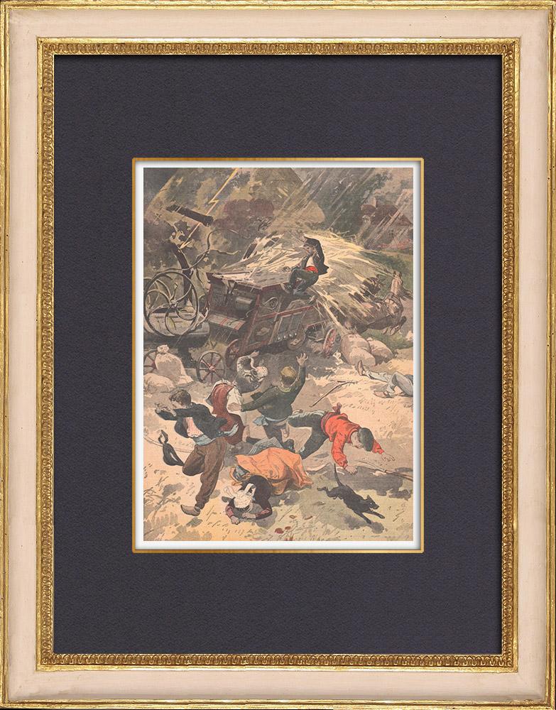 Gravures Anciennes & Dessins   La foudre tombe sur une machine agricole en Bretagne - 1902   Gravure sur bois   1902